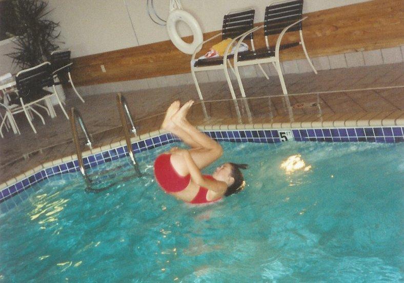 Somersault into pool