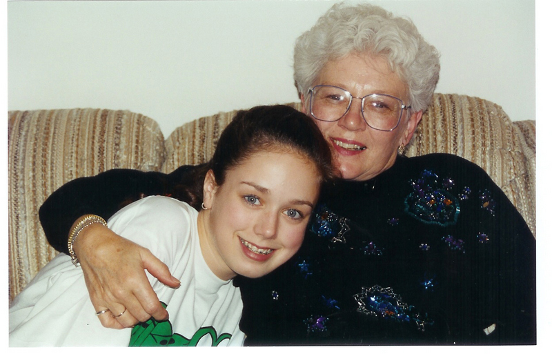 With Grandma in frog shirt
